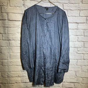 Eileen Fisher silk slate gray blue mid length top